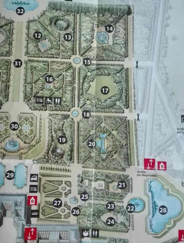 Plans des jardins de Versailles