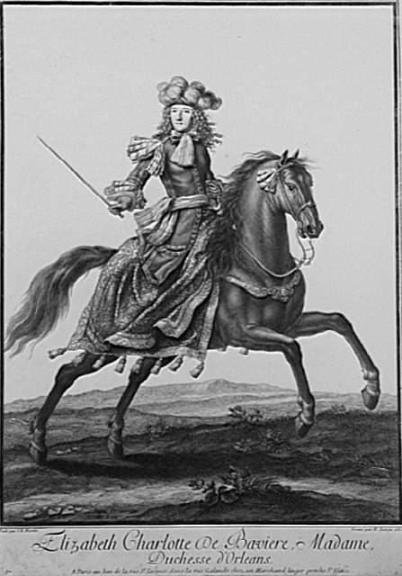 Gravure d'Elisabeth-Charlotte à cheval