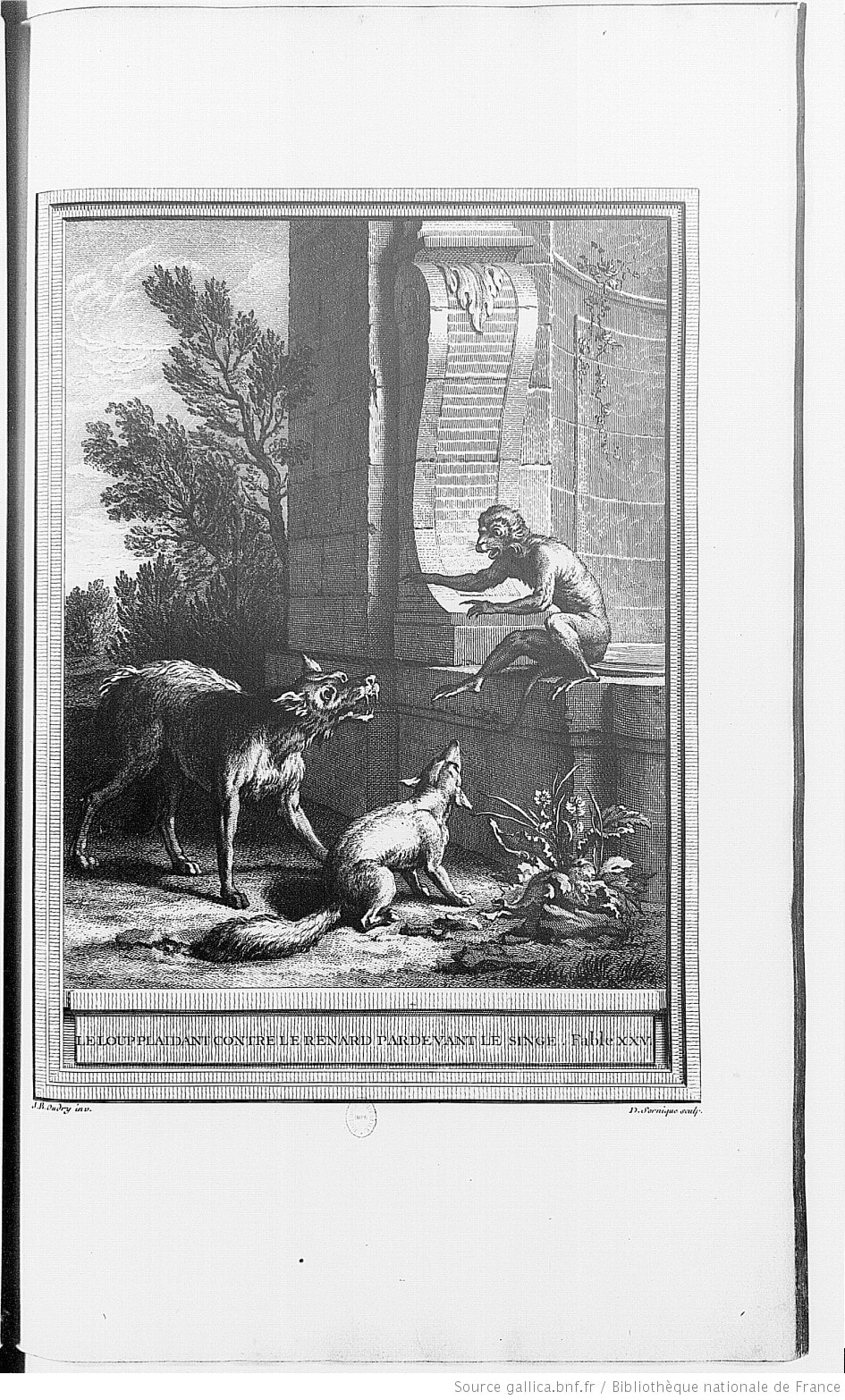 Gravure Le loup plaidant contre le renard par devant le singe