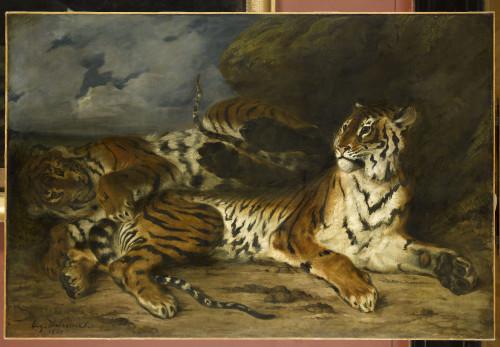 Tableau le Jeune tigre jouant avec sa mère