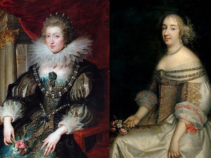 Portraits Anne d'Autriche et Mlle de Montpensier