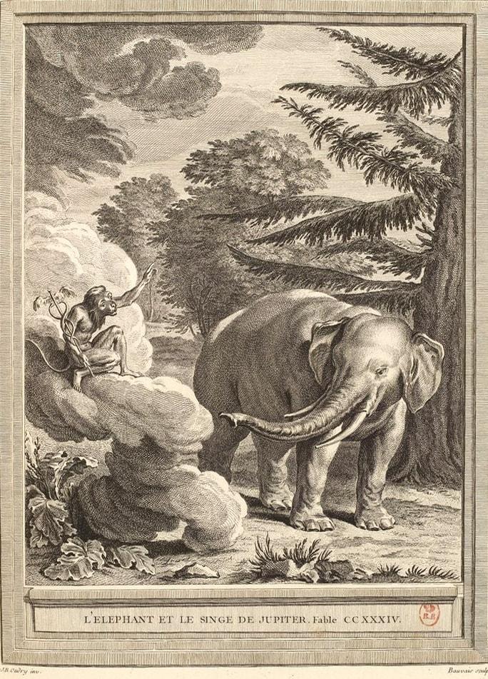 Gravure L'éléphant et le singe