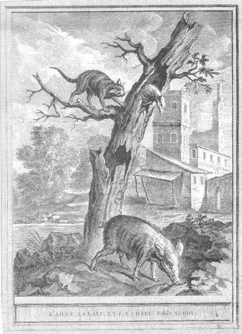 Gravure L'aigle la laie et la chatte