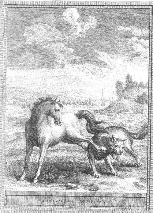Gravure Le cheval et le loup