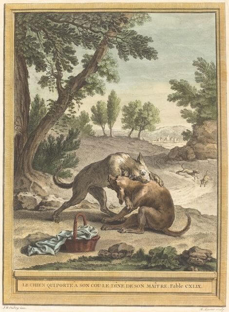 Gravure Le chien qui porte au cou le diné de son maitre