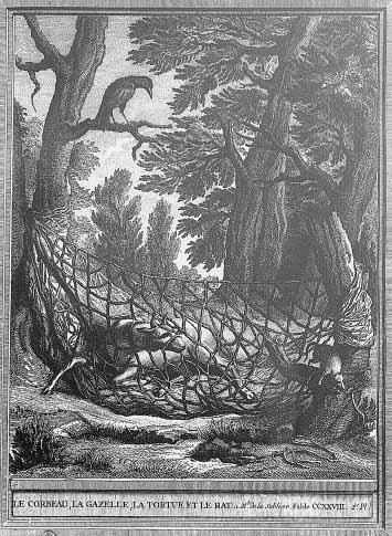 Gravure Le corbeau, la gazelle, la tortue et le rat