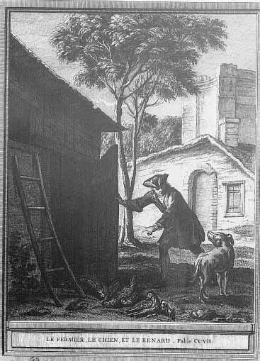 Gravure Le fermier le chien et le renard