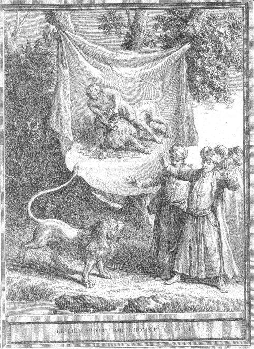 Gravure Le lion abattu par l'homme