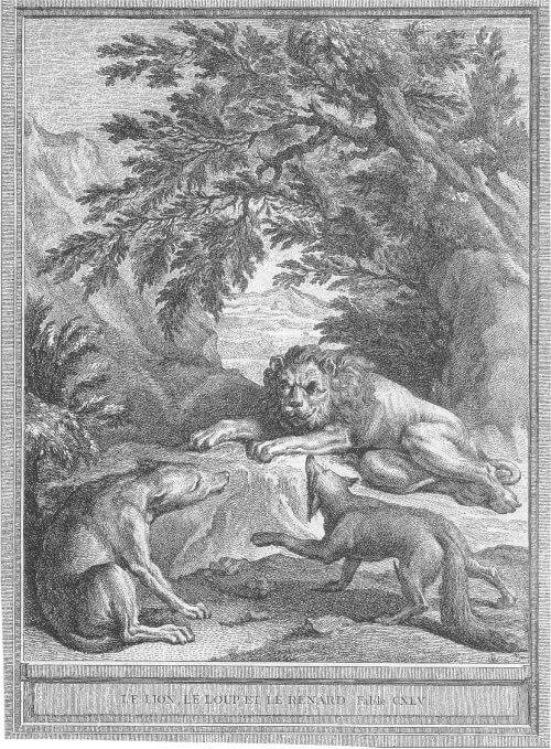 Gravure Le lion le loup et le renard