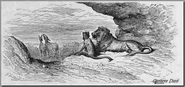 Gravure Le lion le singe et les deux ânes