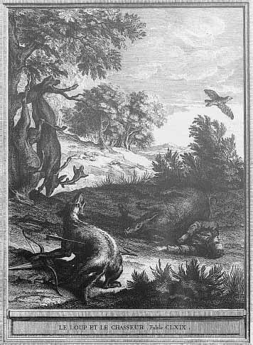 Gravure Le loup et le chasseur