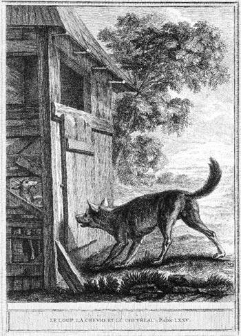 Gravure Le loup la chèvre et le chevreau