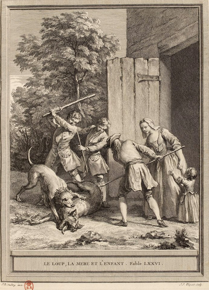 Gravure Le loup la mere et l'enfant