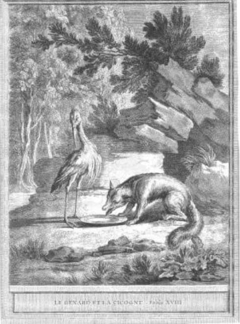 Gravure Le renard et la cigogne