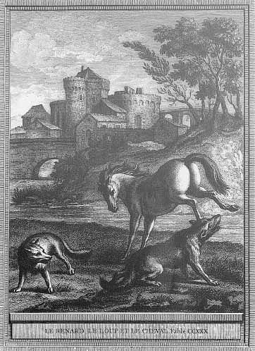 Gravure Le renard, le loup et le cheval