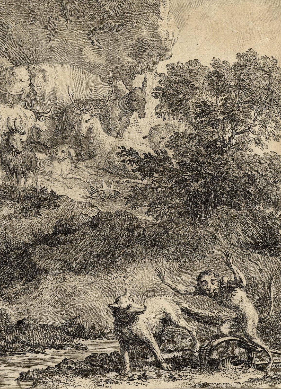 Gravure Le renard, le singe et les animaux
