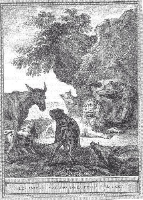 Gravure Les animaux malades de la peste