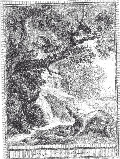 Gravure le coq et le renard
