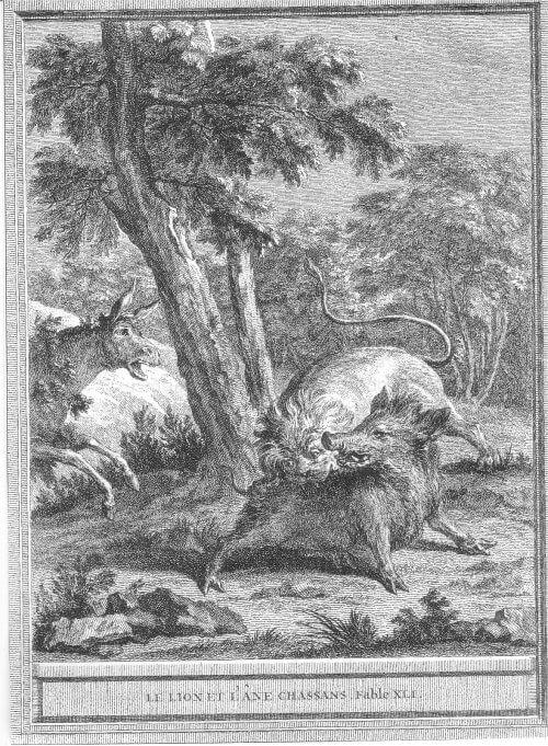 Gravure le lion et l'âne chassant