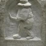 Gladiateur thrace sur stèle funéraire.