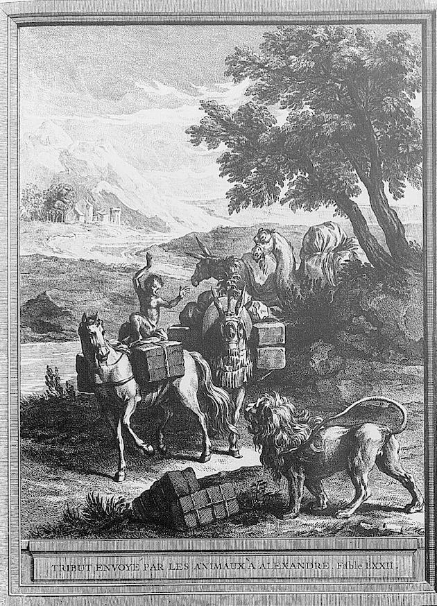 Tribut envoyé par les animaux à Alexandre