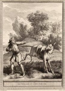 Le vieillard et l'âne. Illustration de J.-B. Oudry.